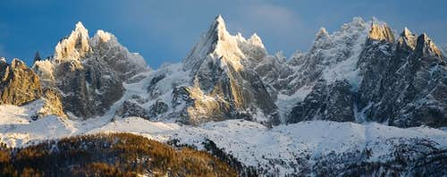 The Chamonix Aiguilles after a winter storm