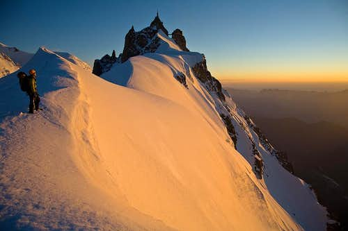 Sunset on the north face of the Midi