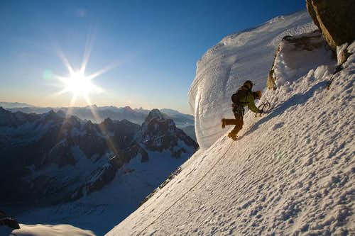 Climbing up the east face of the Mont Blanc du Tacul