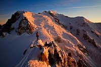 Alpinist and the Mont blanc massif