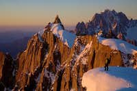 Sunset on the Aiguille du Plan and in the far background the Verte and Drus
