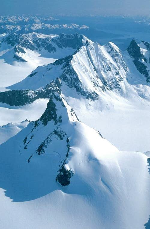 Aerial view of peaks in the Juneau Icefield