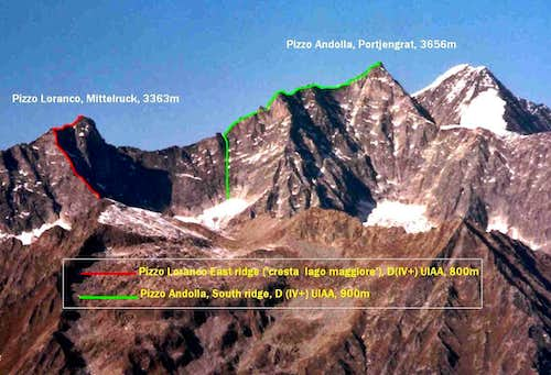 Andolla group, main rock routes.
