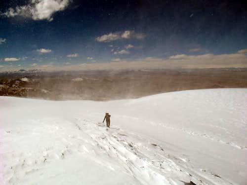Climber soon on SW summit