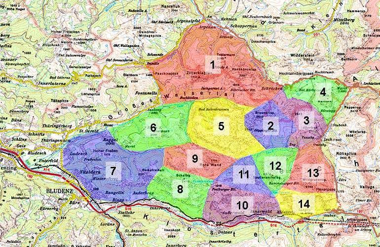 Overview Map Lechquellengebirge