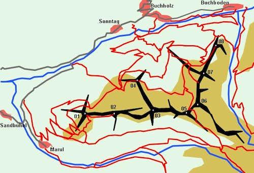 Schematic Map of the Stafelveldergrat Ridge