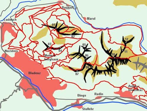 Schematic Map of the Gamsfreiheit Group