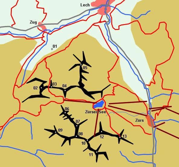 Schematic Map of the Wildgrubenspitze Group