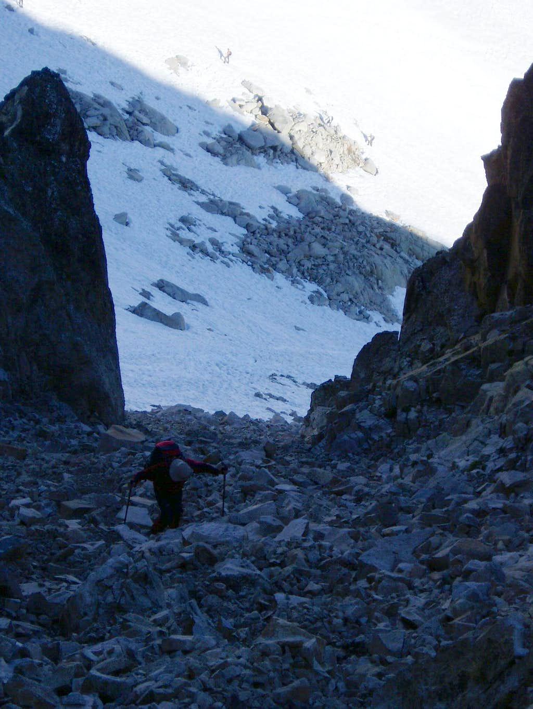 Gulley access to Portillon ridge