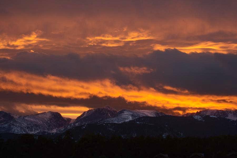 sunset over Otis Hallett and Flat Top