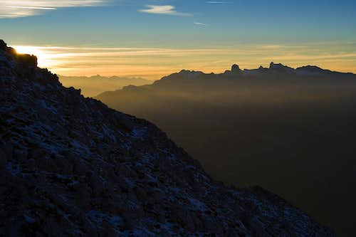 Dachstein in sunset from Grimming