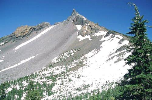 The west face of Mt. Thielsen...