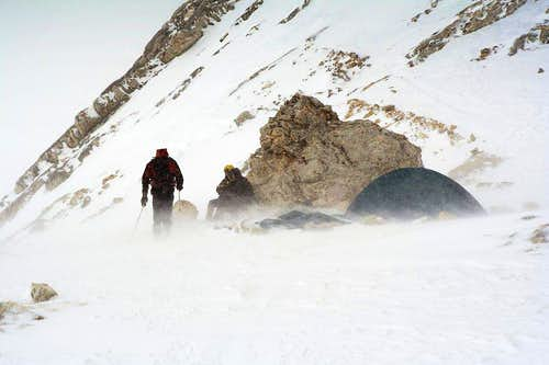 Snow storm under the Seekofel