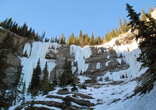 Amphitheatre of Ice Atop Evergreen Gully - Grande Cache