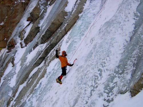 Ice climbing in Lee Vining, CA