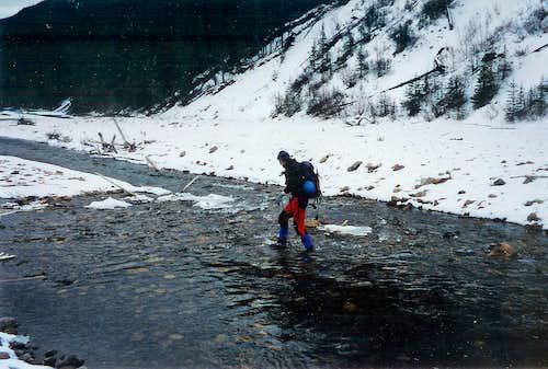 Crossing the Wildhay River - Rock Lake Falls, Hinton, AB.