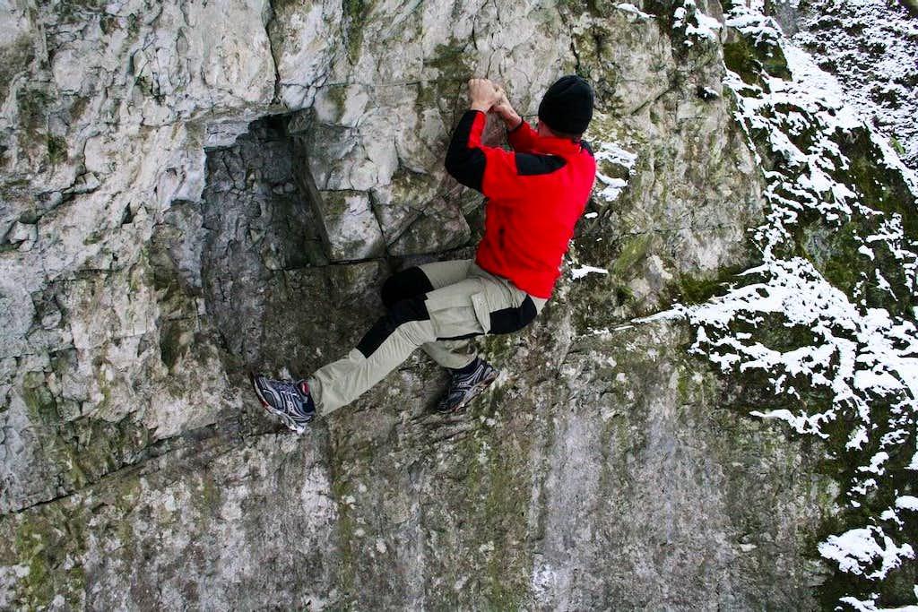 Bouldering in winter
