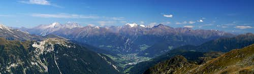The Zillertal Alps as seen across the Sterzing / Vipiteno Basin