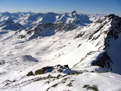Piz d Agnel and the head of omonimous valley.Photo taken from the summit of Piz Surgonda.