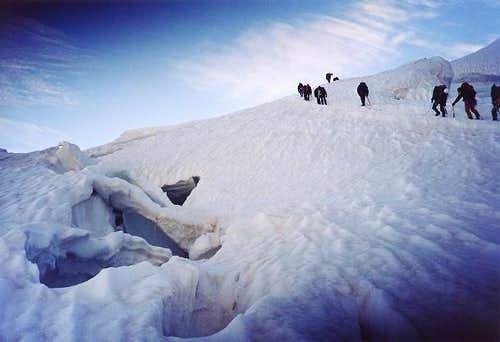 Mount Rosa - Crevasse long the way