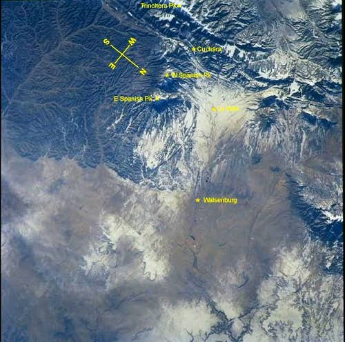 The Spanish Peaks from Space...