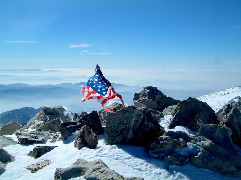 Old Glory on San Gorgonio summit