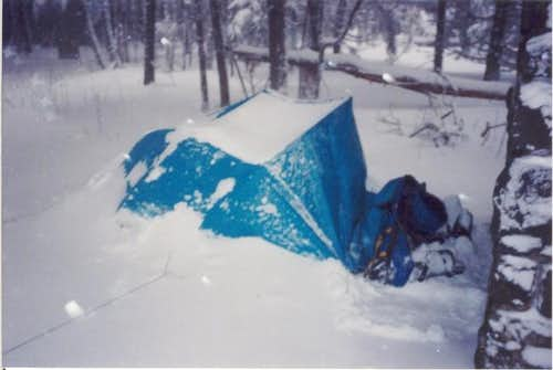Tent at the towers base....