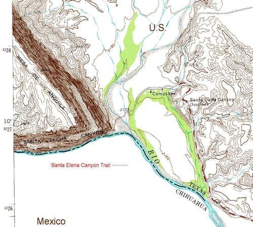 Map Extract for Santa Elena Canyon