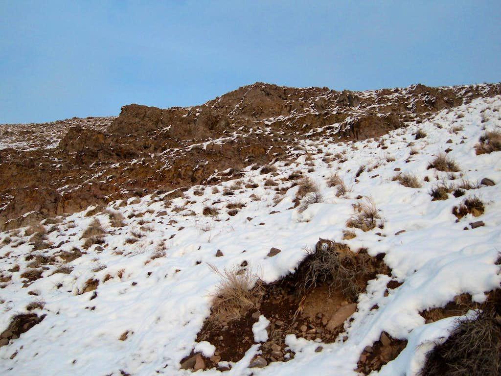 Cliffs below the true summit