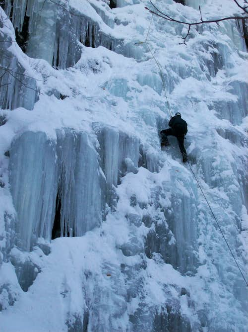 Ice Climbing on Chia at Frankenstein Cliff
