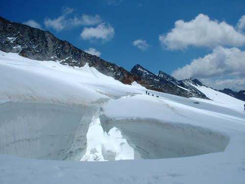 a very big crevasse in the...