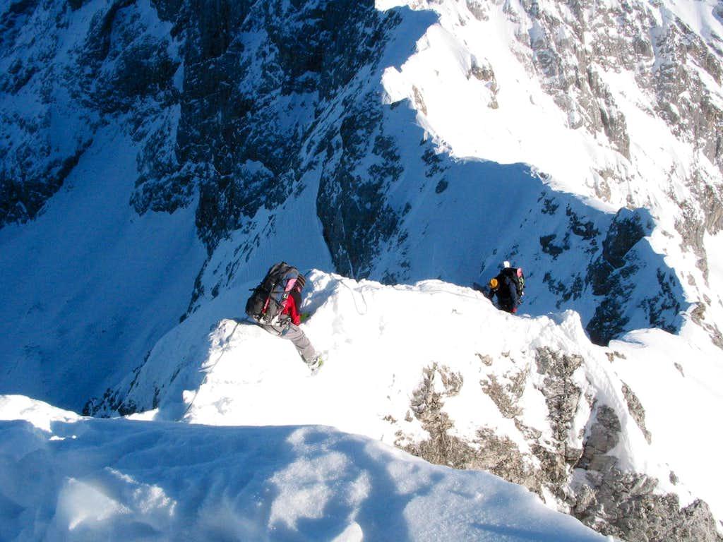 Slipping along the ridge