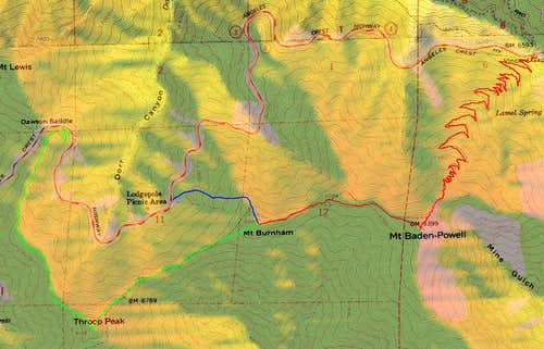 Mount Burnham Topo Map