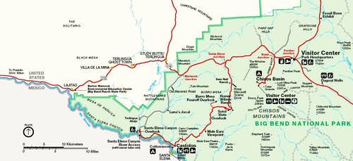 Map to Santa Elena Canyon