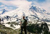 ON MOUNT FREMONT  W/ MOUNT RAINIER IN BACK