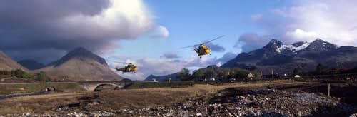 Panorama of a Mountain Rescue helicopter taking off from Sligachan