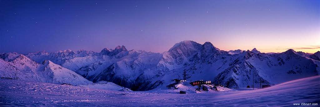 Mery Christmas. Over Caucasus view...