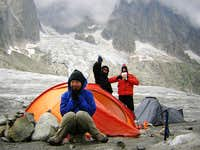 Mt Blanc - preparing for the night on the