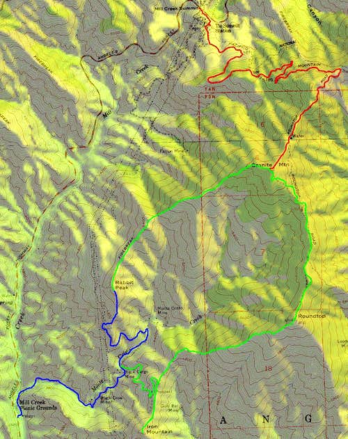 Topo Map of Rabbit Peak Routes