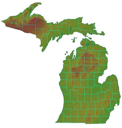Michigan County Highpoint Map