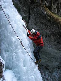 Ice climber on Misové Vodopady