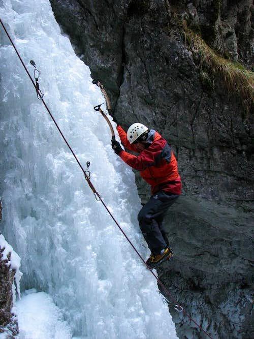 Ice climber on Misové Vodopady