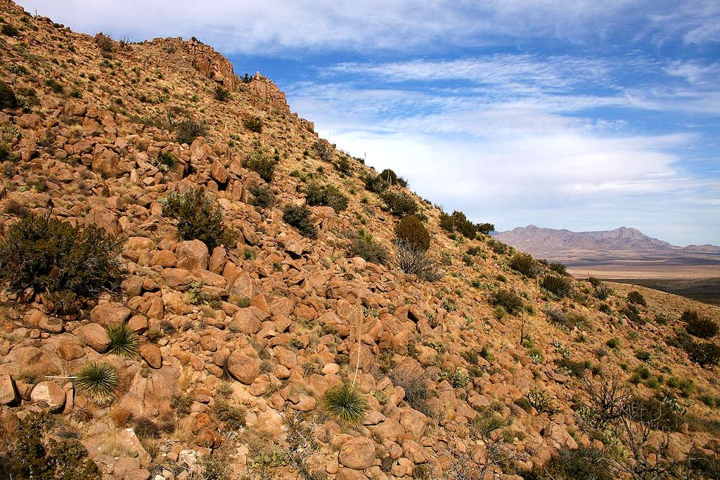 Boulder-strewn slope of North Peak