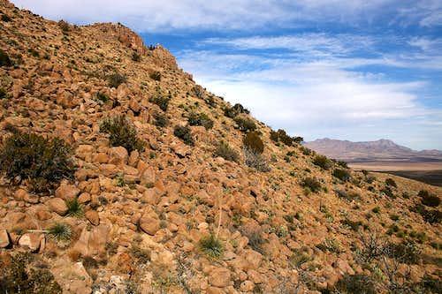 Boulder-strewn slope of North Peak