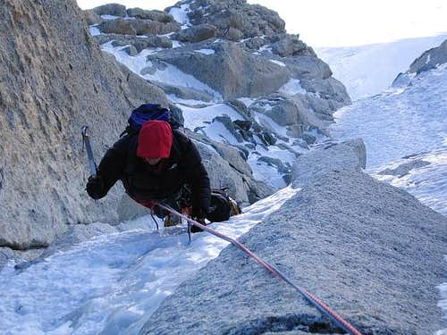 Climbing on the Chèré Couloir