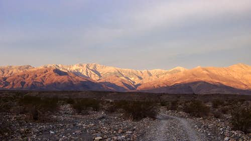 Telescope Peak (11049') from the Badwater Basin (at Shorty's well, -250')
