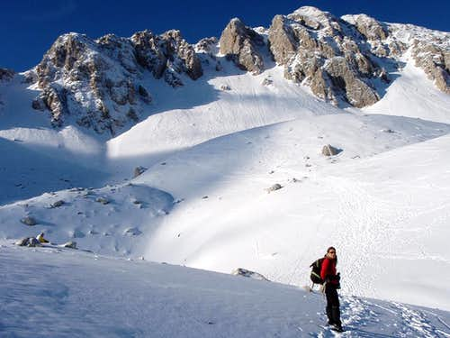 Approaching the couloirs
