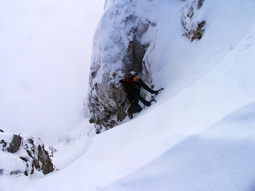 Climbing in the couloir