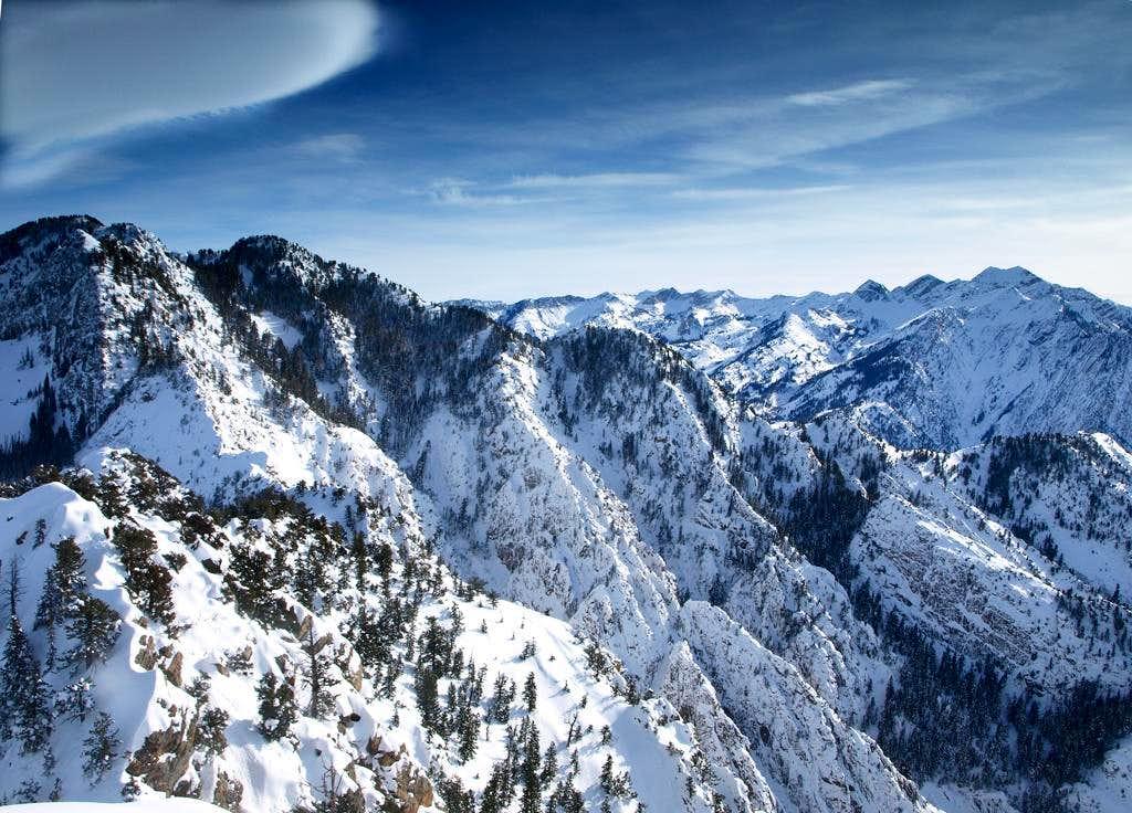 summit view of Triangle Peak and Cottonwood Ridge