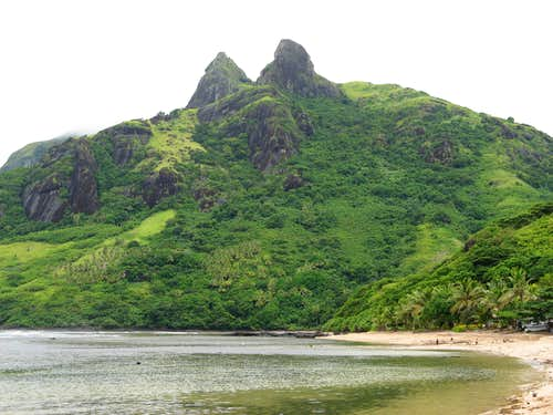 Peaks that overlook Nalauwaki village and Bay, Waya Island, Yasawa Group, Fiji